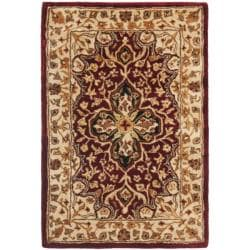 Handmade Persian Legend Red/ Beige Wool Rug (2' x 3')