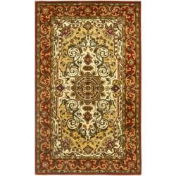Handmade Persian Legend Traditional Ivory/Rust Wool Rug (3' x 5')