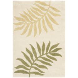 Handmade Ferns Ivory New Zealand Wool Rug (2' x 3')