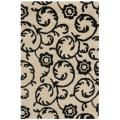 Handmade Rose Scrolls Beige New Zealand Wool Rug (2' x 3')