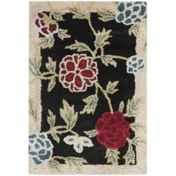 Handmade Gardens Black New Zealand Wool Rug (2' x 3')