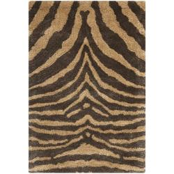 Handmade Tiger Beige/ Brown New Zealand Wool Rug (2' x 3')