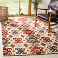 Handmade Festive Ivory New Zealand Wool Rug (2&#39;6 x 10&#39;)
