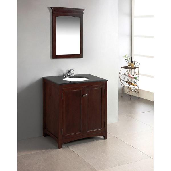 Popular Louisiana Black 30inch Bath Vanity With 2 Doors And White Marble Top