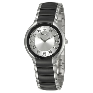 Bulova Men's 'Diamonds' Stainless Steel Quartz Watch