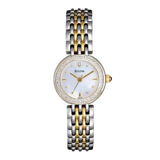 Bulova Women&#39;s &#39;Diamonds&#39; Two-tone Stainless Steel Quartz Watch