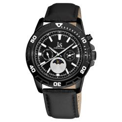 Joshua & Sons Men's Swiss Quartz Black-Dial Multifunction Strap Watch
