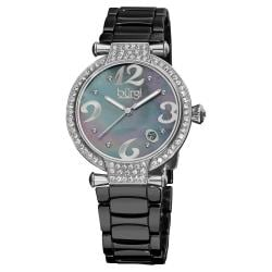 Burgi Women's Black Quartz Date Ceramic Bracelet Watch