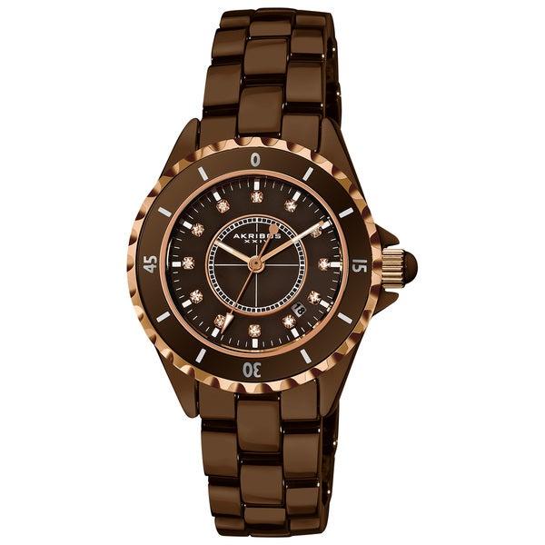 Akribos XXIV Quartz Date Women's Ceramic Bracelet Watch