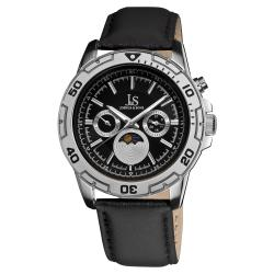 Joshua & Sons Men's Swiss Quartz Stainless-Steel-Bezel Multifunction Strap Watch