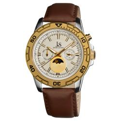 Joshua & Sons Men's Swiss Quartz Goldtone-Bezel Multifunction Strap Watch