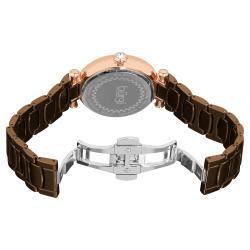 Burgi Women's Brown Ceramic Japanese Quartz Bracelet Watch with Date