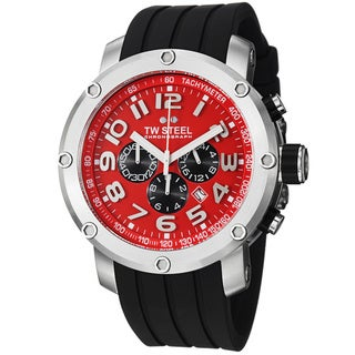 TW Steel Men's 'Tech' Red Dial Black Rubber Strap Chronograph Watch
