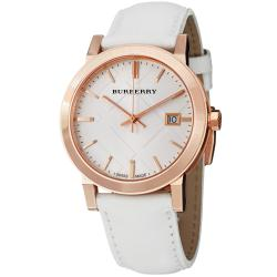 Burberry Men's 'Large Check' Silver Dial White Leather Strap Watch