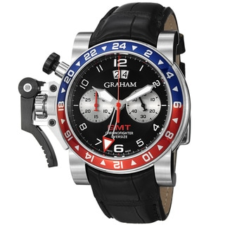 Graham Men's 'Chronofighter' Black Dial Leather Strap Automatic Watch