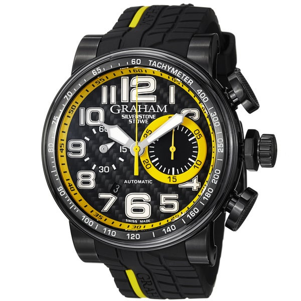 Graham Men's 'Silverstone' Black Dial Black Rubber Strap Watch