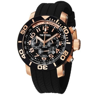 TW Steel Men's 'GrandeurDive' Rose Goldtone Black Rubber Strap Watch