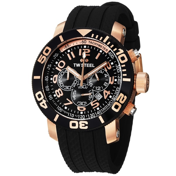 TW Steel Men's TW93 'GrandeurDive' Rose Goldtone Black Rubber Strap Watch