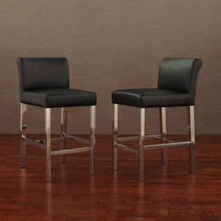 Cosmopolitan Stainless Steel Black Snake Leather Counter Stools (Set of 2)