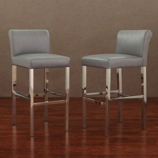 Cosmopolitan Stainless Steel Charcoal Snake Leather Bar Stools (Set of 2)