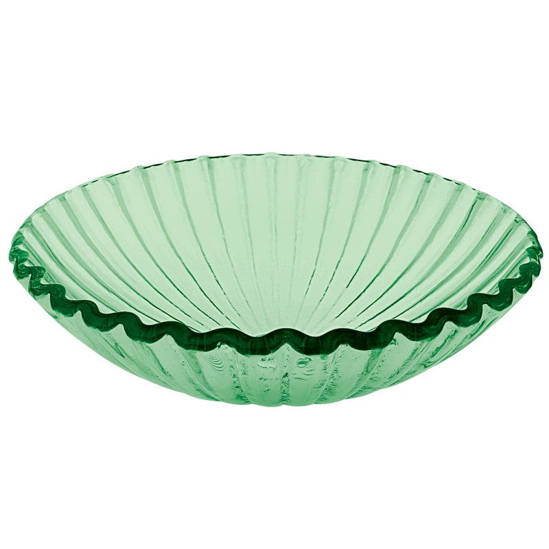 Clam Shell Glass Green Vessel