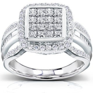 Annello 14k White Gold 1ct TDW Diamond Composite Halo Engagement Ring (H-I, I1-I2)