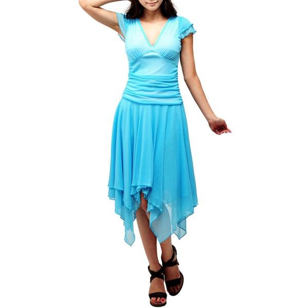 Evanese Women's Double Layered Asymmetrical Handkerchief Skirt Dress