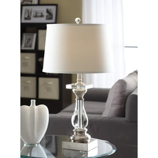 Crystal Curve Table Lamp with White Shade