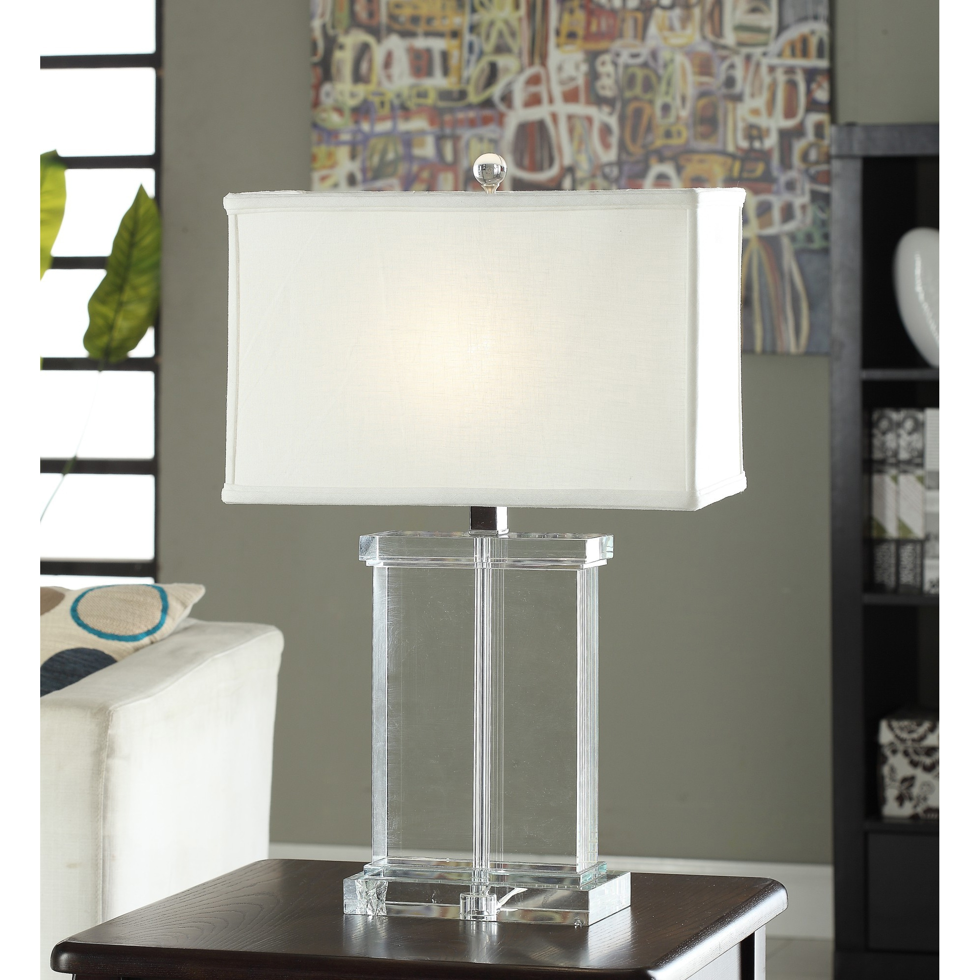 Crystal Rectangular White Shade Table Lamp Overstock
