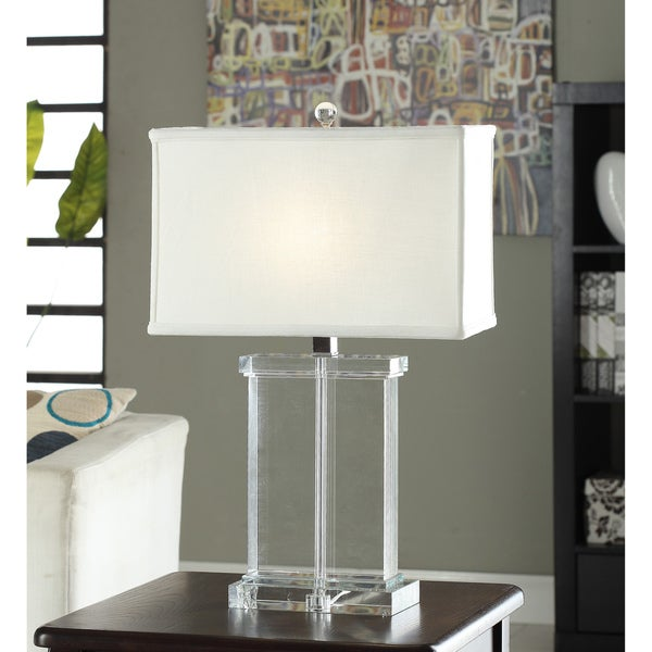 Crystal Rectangular White Shade Table Lamp Lighting Desk