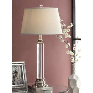 Crystal Metal Column Table Lamp with White Shade
