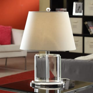 Oval Crystal Table Lamp with White Drum Shade