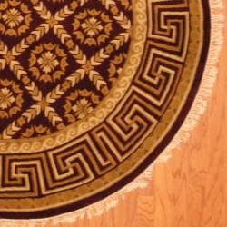 Indo Hand-knotted Tibetan Burgundy/ Beige Wool Rug (6' Round)