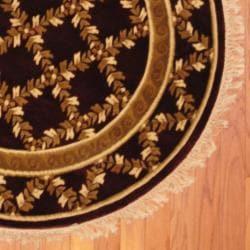 Herat Oriental Indo Hand-knotted Tibetan Burgundy/ Ivory Wool Round Rug (4' x 4')