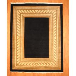 Indo Hand-knotted Tibetan Black/ Beige Wool Rug (9'11 x 11'10)