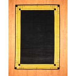 Indo Hand-knotted Tibetan Black/ Yellow Wool Rug (6'8 x 9'8)