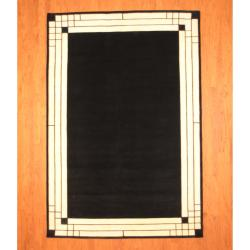 Indo Hand-knotted Tibetan Black/ Ivory Wool Rug (6'7 x 9'9)