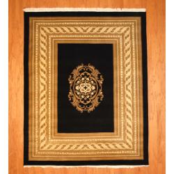 Indo Hand-knotted Tibetan Black/ Ivory Wool Rug (7'11 x 9'11)