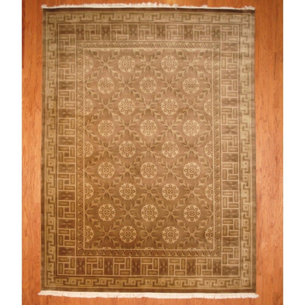 Indo Hand-knotted Tibetan Brown/ Beige Wool Rug (9' x 12')