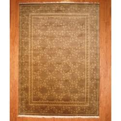 Indo Hand-knotted Tibetan Brown/ Beige Wool Rug (8'11 x 12'6)