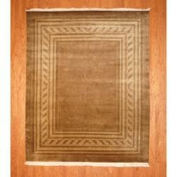 Indo Hand-knotted Tibetan Light Brown/ Beige Wool Rug (8'1 x 9'11)