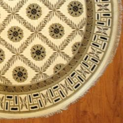Indo Hand-Knotted Tibetan Ivory/Light Brown Wool Area Rug (8' Round)