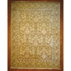 Indo Contemporary Hand-Knotted Tibetan Light Brown/Ivory Wool Rug (9' x 12')