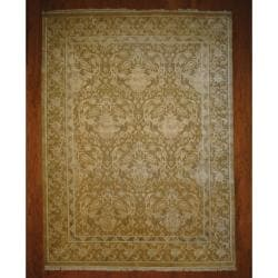 Indo Hand-knotted Tibetan Light Brown/ Ivory Wool Rug (9' x 12')
