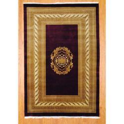Indo Hand-knotted Tibetan Burgundy/ Ivory Wool Rug (6'1 x 9'1)