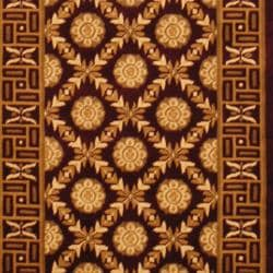 Indo Hand-knotted Tibetan Burgundy/Ivory Wool Area Rug (3' x 5')