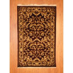 Indo Hand-knotted Tibetan Burgundy/ Ivory Wool Rug (3' x 5')