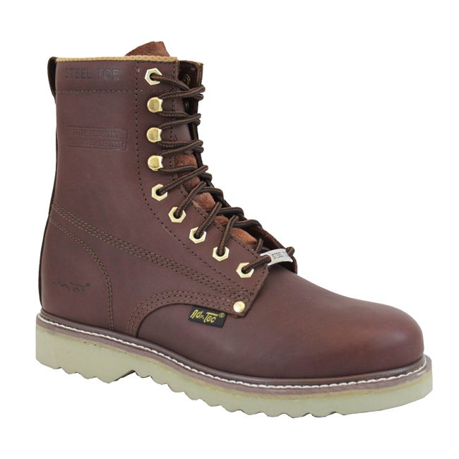 AdTec by Beston Men's Red Steel Toe Lace up Work Boots