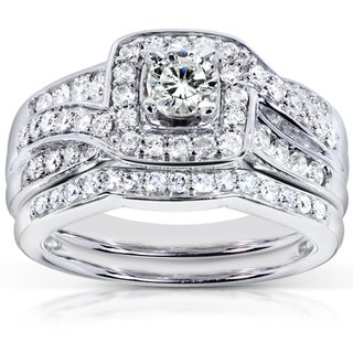 Annello  14k White Gold 1ct TDW Diamond Bridal Rings Set (H-I, I1-I2)