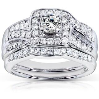 Annello  14k White Gold 1ct TDW Diamond Bridal Rings Set (H-I, I1-I2) with Bonus Item